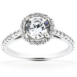 Goldara, 18k halo engagement ring